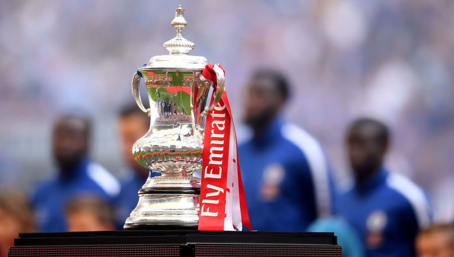 LONDON, ENGLAND - MAY 19:  The Emirates FA Cup Trophy is seen inside the stadium prior to The Emirates FA Cup Final between Chelsea and Manchester United at Wembley Stadium on May 19, 2018 in London, England.  (Photo by Laurence Griffiths/Getty Images)