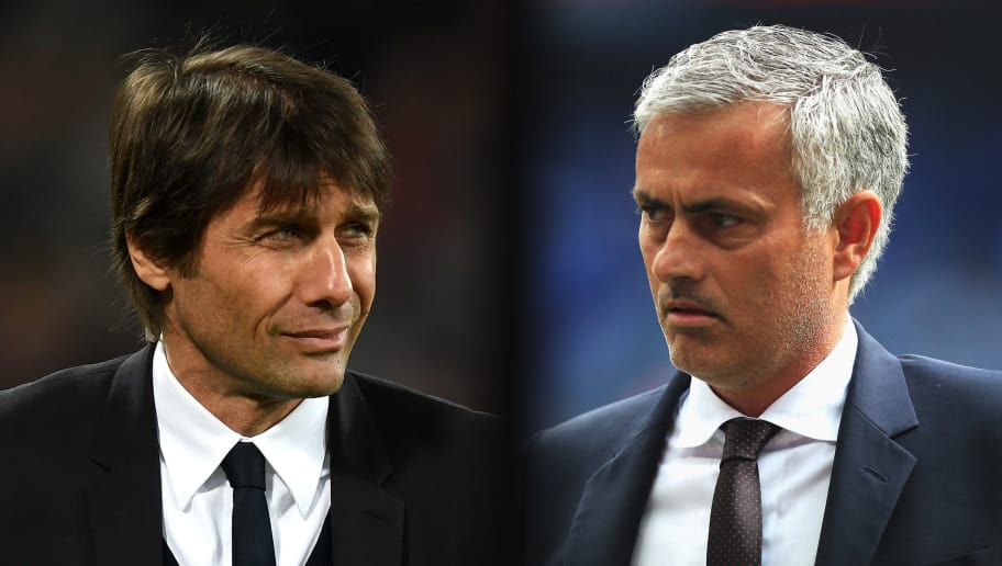 FILE PHOTO (EDITORS NOTE: GRADIENT ADDED - COMPOSITE OF TWO IMAGES - Image numbers (L) 648790058 and 586900360) In this composite image a comparision has been made between  Antonio Conte, Manager of Chelsea and Jose Mourinho,Manager of Manchester United. Chelsea and Manchester United meet in one of the  Emirates FA Cup Quarter-Finals at Stamford Bridge on March 13, 2017 in London,England.   ***LEFT IMAGE*** STRATFORD, ENGLAND - MARCH 06: Antonio Conte, Manager of Chelsea looks on during the Premier League match between West Ham United and Chelsea at London Stadium on March 6, 2017 in Stratford, England. (Photo by Michael Regan/Getty Images) ***RIGHT IMAGE*** LONDON, ENGLAND - AUGUST 07: Manager of Manchester United, Jose Mourinho watches on during The FA Community Shield match between Leicester City and Manchester United at Wembley Stadium on August 7, 2016 in London, England. (Photo by Ben Hoskins/Getty Images)