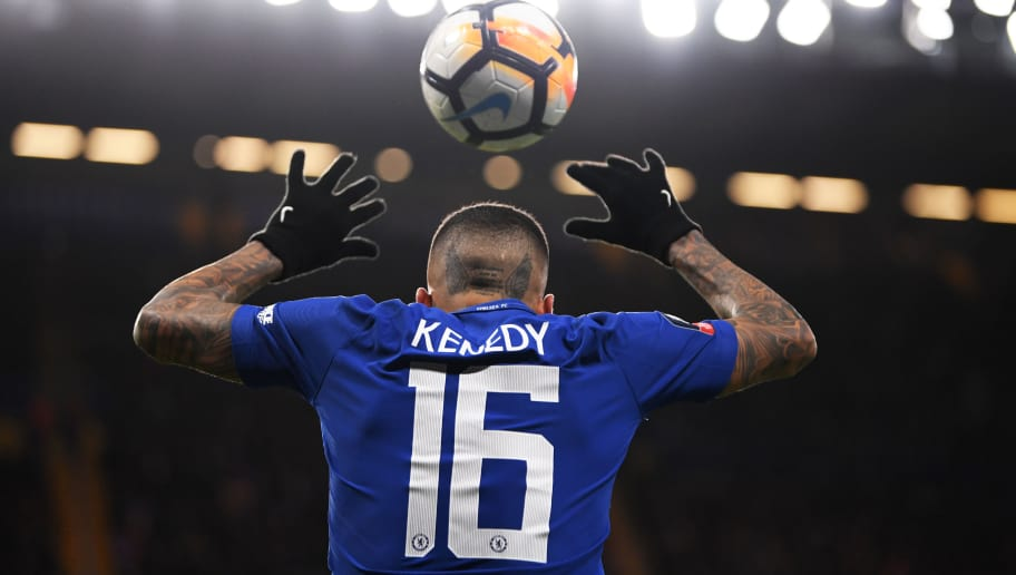 LONDON, ENGLAND - JANUARY 17:  Kenedy of Chelsea takes a throw in during The Emirates FA Cup Third Round Replay between Chelsea and Norwich City at Stamford Bridge on January 17, 2018 in London, England.  (Photo by Mike Hewitt/Getty Images)