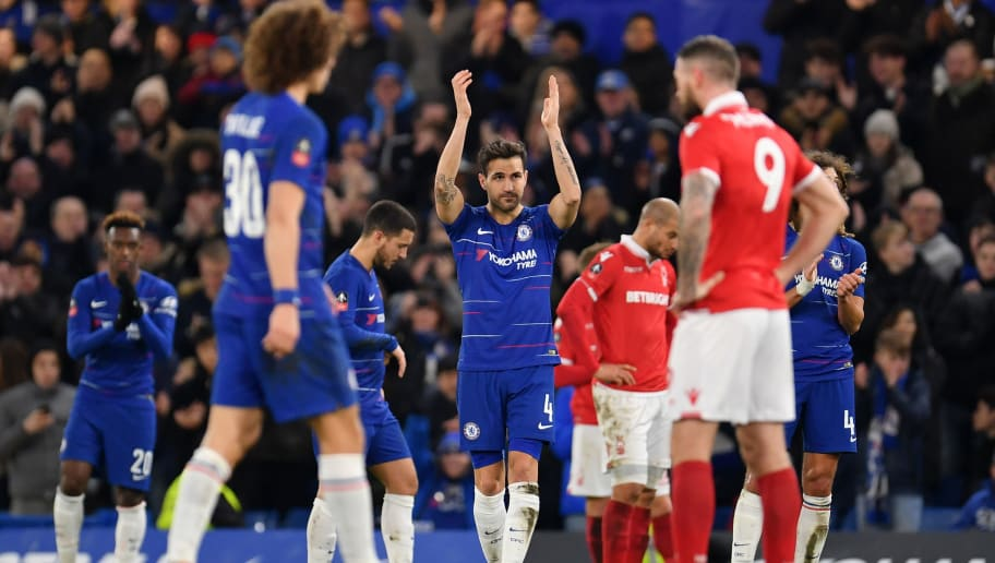 LONDON, ENGLAND - JANUARY 05:  Cesc Fabregas of Chelsea acknowledges the fans as he leaves the pitch to be subbed during the FA Cup Third Round match between Chelsea and Nottingham Forest at Stamford Bridge on January 5, 2019 in London, United Kingdom.  (Photo by Justin Setterfield/Getty Images)