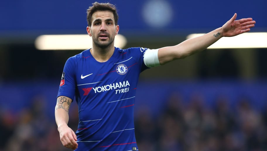 LONDON, ENGLAND - JANUARY 05:  Cesc Fabregas of Chelsea reacts during the FA Cup Third Round match between Chelsea and Nottingham Forest at Stamford Bridge on January 5, 2019 in London, United Kingdom.  (Photo by Clive Rose/Getty Images)