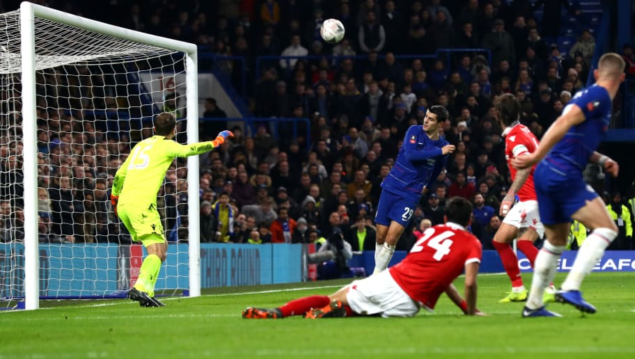 LONDON, ENGLAND - JANUARY 05: Alvaro Morata of Chelsea heads over during the FA Cup Third Round match between Chelsea and Nottingham Forest at Stamford Bridge on January 5, 2019 in London, United Kingdom.  (Photo by Clive Rose/Getty Images)