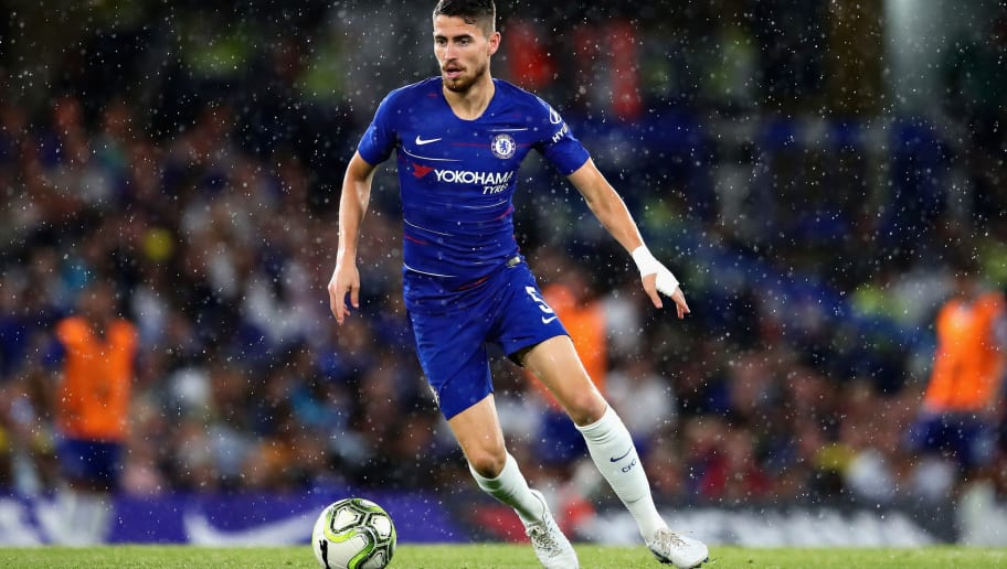 LONDON, ENGLAND - AUGUST 07:  Jorginho of Chelsea in action during the pre-season friendly match between Chelsea and Olympique Lyonnais at Stamford Bridge on August 7, 2018 in London, England.  (Photo by Chris Brunskill/Fantasista/Getty Images)