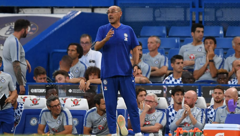 LONDON, ENGLAND - AUGUST 07:  Maurizio Sarri, Manager of Chelsea reacts during the pre-season friendly match between Chelsea and Lyon at Stamford Bridge on August 7, 2018 in London, England.  (Photo by Mike Hewitt/Getty Images)