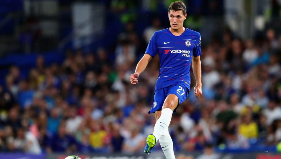 LONDON, ENGLAND - AUGUST 07:  Andreas Christensen of Chelsea in action during the pre-season friendly match between Chelsea and Olympique Lyonnais at Stamford Bridge on August 7, 2018 in London, England.  (Photo by Chris Brunskill/Fantasista/Getty Images)