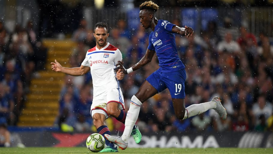 LONDON, ENGLAND - AUGUST 07:  Jeremy Morel of Lyon and Tammy Abraham of Chelsea in action during the pre-season friendly match between Chelsea and Lyon at Stamford Bridge on August 7, 2018 in London, England.  (Photo by Mike Hewitt/Getty Images)