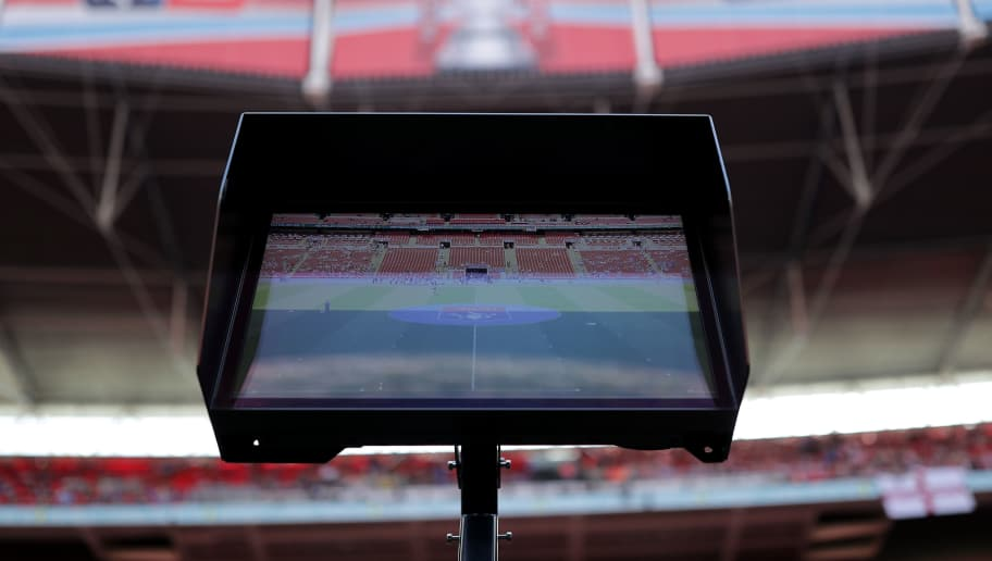 LONDON, ENGLAND - APRIL 22:  VAR screen ahead of the The Emirates FA Cup Semi Final match between Chelsea and Southampton at Wembley Stadium on April 22, 2018 in London, England.  (Photo by Richard Heathcote/Getty Images)