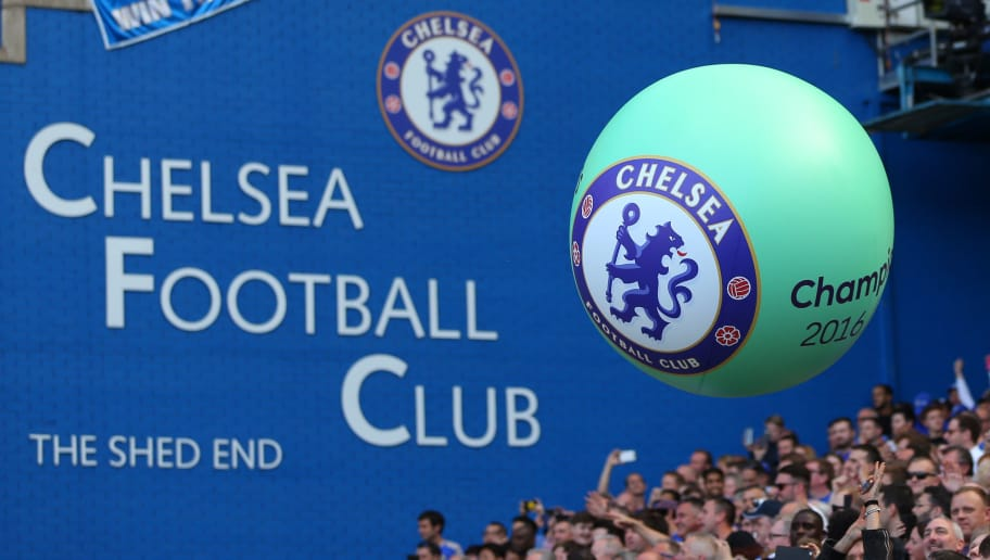 LONDON, ENGLAND - MAY 21: A giant balloon with the Chelsea badge on is passed amongst the fans during the Premier League match between Chelsea and Sunderland at Stamford Bridge on May 21, 2017 in London, England. (Photo by Catherine Ivill - AMA/Getty Images)