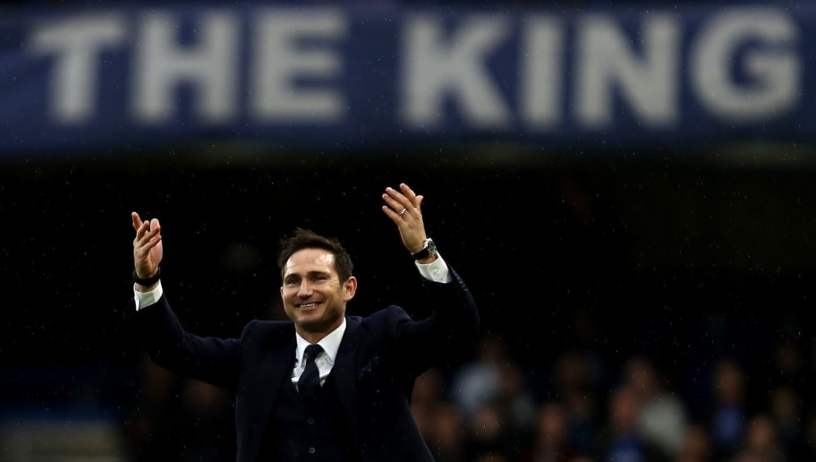 LONDON, ENGLAND - FEBRUARY 25:  Frank Lampard shows appreciation to the fans at half time during the Premier League match between Chelsea and Swansea City at Stamford Bridge on February 25, 2017 in London, England.  (Photo by Bryn Lennon/Getty Images)