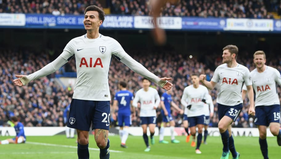 LONDON, ENGLAND - APRIL 01:  Dele Alli of Tottenham Hotspur celebrates after scoring his side's third goal during the Premier League match between Chelsea and Tottenham Hotspur at Stamford Bridge on April 1, 2018 in London, England.  (Photo by Michael Regan/Getty Images)