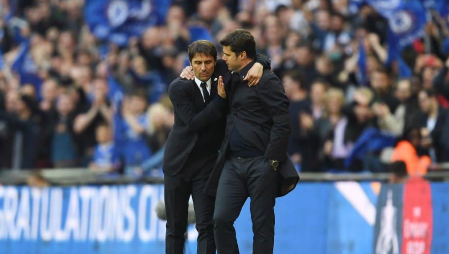 LONDON, ENGLAND - APRIL 22:  Antonio Conte, Manager of Chelsea and Mauricio Pochettino, Manager of Tottenham Hotspur shake hands after the full time whistle during The Emirates FA Cup Semi-Final between Chelsea and Tottenham Hotspur at Wembley Stadium on April 22, 2017 in London, England.  (Photo by Laurence Griffiths/Getty Images)