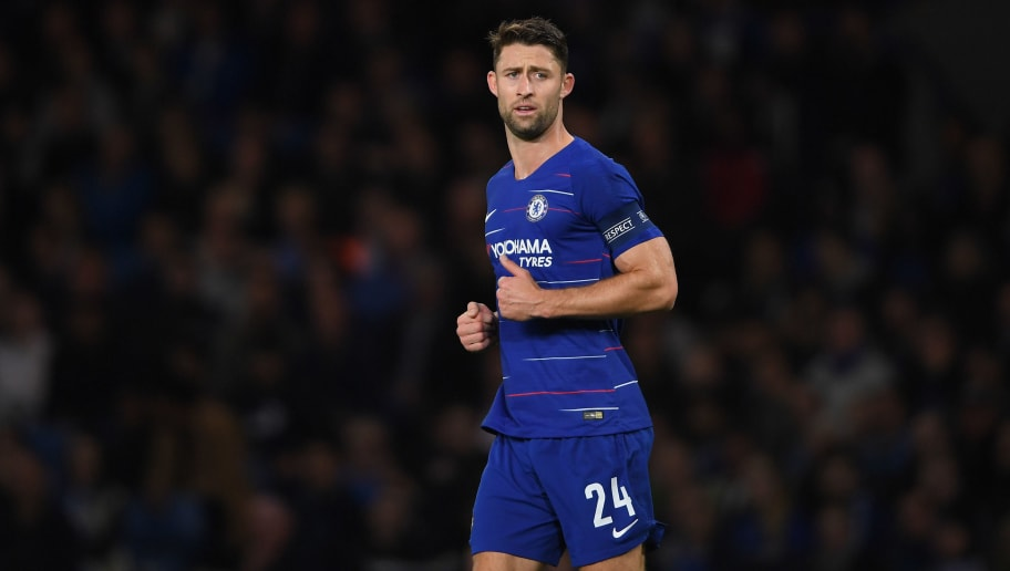 LONDON, ENGLAND - OCTOBER 04:  Gary Cahill of Chelsea looks on during the UEFA Europa League Group L match between Chelsea and Vidi FC at Stamford Bridge on October 4, 2018 in London, United Kingdom.  (Photo by Mike Hewitt/Getty Images)