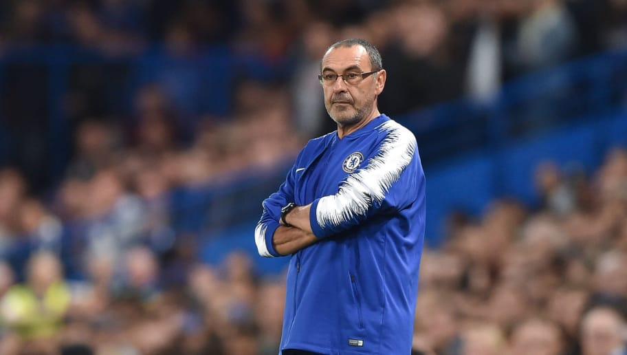 LONDON, ENGLAND - OCTOBER 04: Head coach Maurizio Sarri of Chelsea looks on during the UEFA Europa League Group L match between Chelsea and Vidi FC at Stamford Bridge on October 4, 2018 in London, United Kingdom. (Photo by TF-Images/Getty Images)