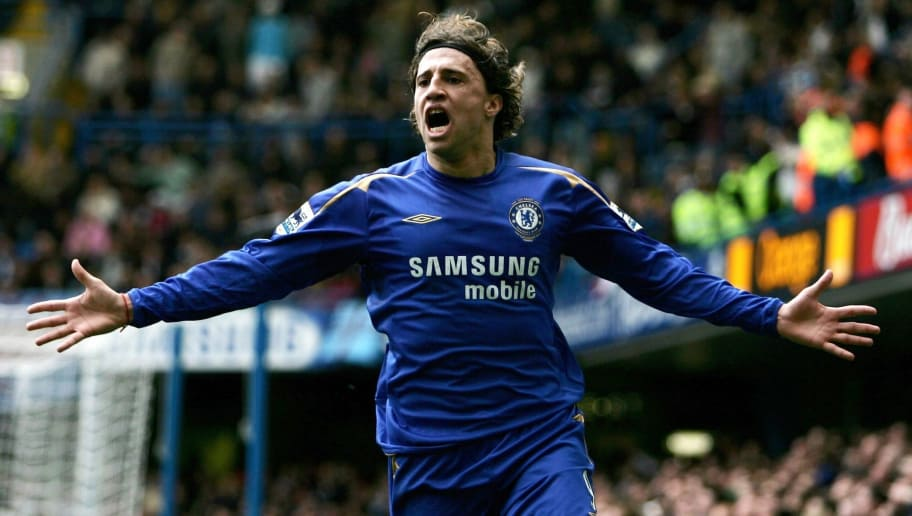 LONDON - APRIL 09:  Hernan Crespo of Chelsea celebrates scoring their second goal during the Barclays Premiership match between Chelsea and West Ham United on April 9, 2006 in London, England.  (Photo by Paul Gilham/Getty Images)
