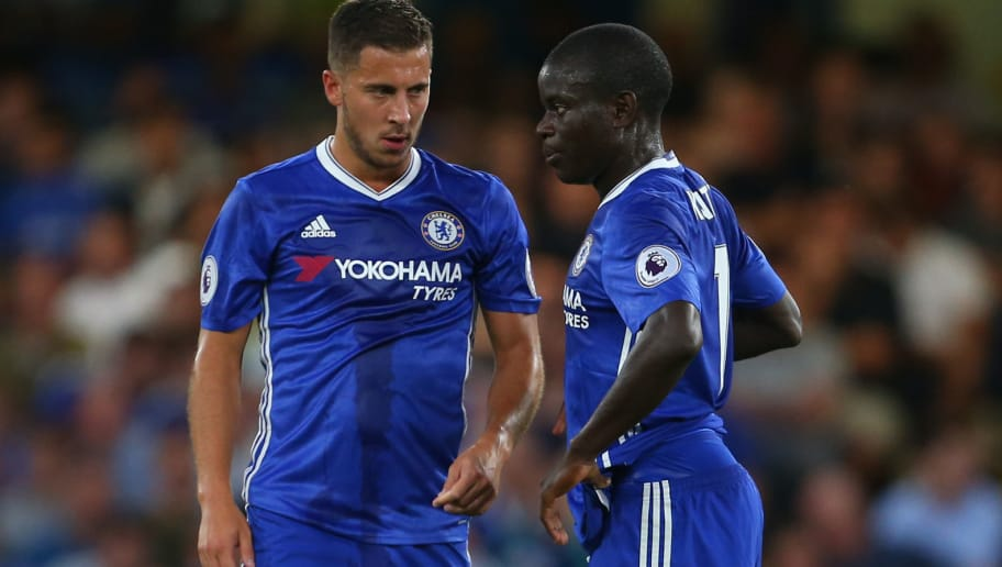 LONDON, ENGLAND - AUGUST 15: Eden Hazard of Chelsea talks to Ngolo Kante of Chelsea during the Premier League match between Chelsea and West Ham United at Stamford Bridge on August 15, 2016 in London, England. (Photo by Catherine Ivill - AMA/Getty Images)