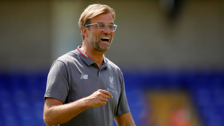 CHESTER, ENGLAND - JULY 07: Liverpool manager Jurgen Klopp reacts during the Pre-season friendly between Chester City and Liverpool at Swansway Chester Stadium on July 7, 2018 in Chester, United Kingdom. (Photo by Malcolm Couzens/Getty Images)