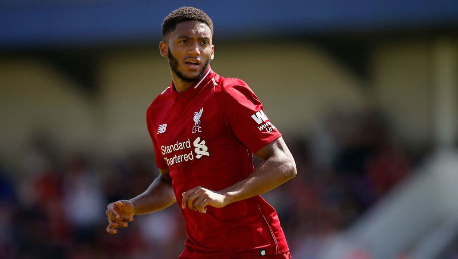 CHESTER, ENGLAND - JULY 07: Joe Gomez of Liverpool during the Pre-season friendly between Chester City and Liverpool at Swansway Chester Stadium on July 7, 2018 in Chester, United Kingdom. (Photo by Malcolm Couzens/Getty Images)