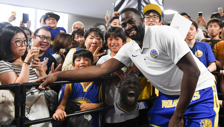 UTSUNOMIYA, JAPAN - SEPTEMBER 09:  Draymond Green of Golden State Warriors poses for a photograph during a fan Meeting event ahead of the B.League Early Cup Kanto 3rd Place Game between Chiba Jets and Sun Rockers Shibuya at Brex Arena on September 9, 2018 in Utsunomiya, Tochigi, Japan.  (Photo by Takashi Aoyama/Getty Images)