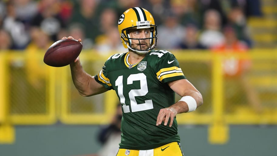 GREEN BAY, WI - SEPTEMBER 09:  Aaron Rodgers #12 of the Green Bay Packers drops back to pass during a game against the Chicago Bears at Lambeau Field on September 9, 2018 in Green Bay, Wisconsin.  (Photo by Stacy Revere/Getty Images)