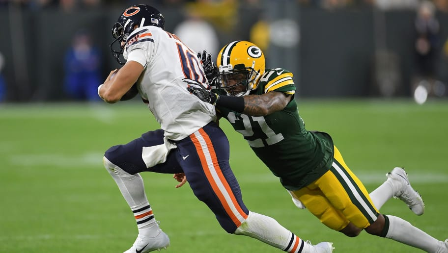 GREEN BAY, WI - SEPTEMBER 09:  Mitchell Trubisky #10 of the Chicago Bears is brought down by Ha Ha Clinton-Dix #21 of the Green Bay Packers during a game at Lambeau Field on September 9, 2018 in Green Bay, Wisconsin.  (Photo by Stacy Revere/Getty Images)