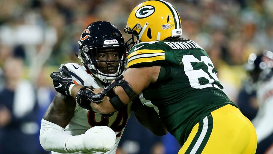 GREEN BAY, WI - SEPTEMBER 09:  David Bakhtiari #69 of the Green Bay Packers guards against Leonard Floyd #94 of the Chicago Bears in the first quarter at Lambeau Field on September 9, 2018 in Green Bay, Wisconsin. (Photo by Dylan Buell/Getty Images)