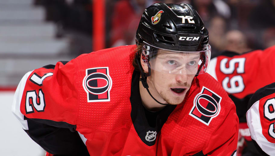 OTTAWA, ON - OCTOBER 4: Thomas Chabot #72 of the Ottawa Senators prepares for a faceoff against the Chicago Blackhawks at Canadian Tire Centre on October 4, 2018 in Ottawa, Ontario, Canada.  (Photo by Jana Chytilova/Freestyle Photography/Getty Images)