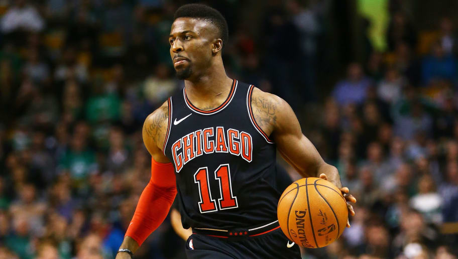 BOSTON, MA - APRIL 6: David Nwaba #11 of the Chicago Bulls dribbles during a game against the Boston Celtics at TD Garden on April 6, 2018 in Boston, Massachusetts. NOTE TO USER: User expressly acknowledges and agrees that, by downloading and or using this photograph, User is consenting to the terms and conditions of the Getty Images License Agreement. (Photo by Adam Glanzman/Getty Images) *** Local Caption ***