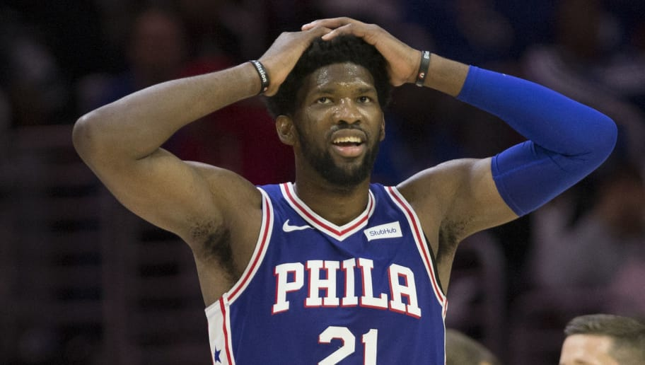 PHILADELPHIA, PA - OCTOBER 18: Joel Embiid #21 of the Philadelphia 76ers reacts against the Chicago Bulls at the Wells Fargo Center on October 18, 2018 in Philadelphia, Pennsylvania. NOTE TO USER: User expressly acknowledges and agrees that, by downloading and or using this photograph, User is consenting to the terms and conditions of the Getty Images License Agreement. (Photo by Mitchell Leff/Getty Images)