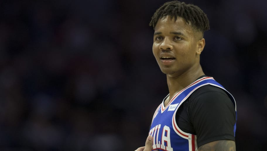 PHILADELPHIA, PA - OCTOBER 18: Markelle Fultz #20 of the Philadelphia 76ers looks on against the Chicago Bulls at the Wells Fargo Center on October 18, 2018 in Philadelphia, Pennsylvania. NOTE TO USER: User expressly acknowledges and agrees that, by downloading and or using this photograph, User is consenting to the terms and conditions of the Getty Images License Agreement. (Photo by Mitchell Leff/Getty Images)