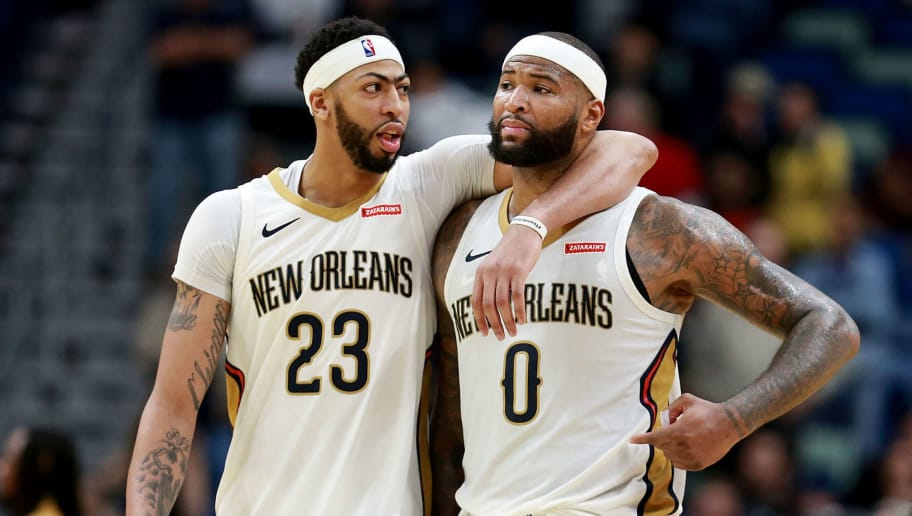 NEW ORLEANS, LA - JANUARY 22:  Anthony Davis #23 of the New Orleans Pelicans and DeMarcus Cousins #0 of the New Orleans Pelicans walk of the court during a NBA game against the Chicago Bulls at the Smoothie King Center on January 22, 2018 in New Orleans, Louisiana. NOTE TO USER: User expressly acknowledges and agrees that, by downloading and or using this photograph, User is consenting to the terms and conditions of the Getty Images License Agreement.  (Photo by Sean Gardner/Getty Images)