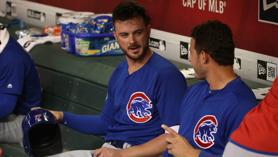 PHOENIX, AZ - SEPTEMBER 18:  Kris Bryant #17 and Anthony Rizzo #44 of the Chicago Cubs talk in the dugout before the MLB game against the Arizona Diamondbacks at Chase Field on September 18, 2018 in Phoenix, Arizona.  (Photo by Christian Petersen/Getty Images)