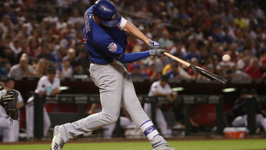 PHOENIX, AZ - SEPTEMBER 18:  Kris Bryant #17 of the Chicago Cubs hits a double against the Arizona Diamondbacks during the fifth inning of the MLB game at Chase Field on September 18, 2018 in Phoenix, Arizona.  (Photo by Christian Petersen/Getty Images)