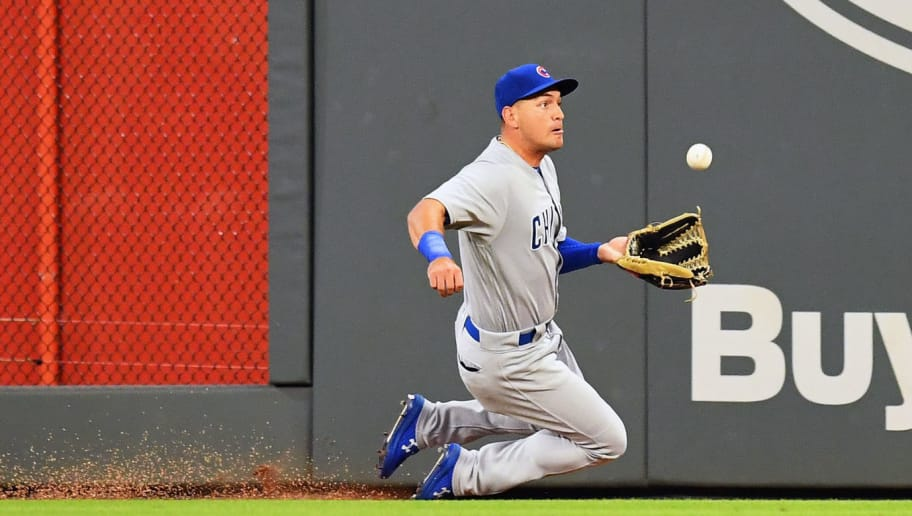 ATLANTA, GA - AUGUST 30: Albert Almora, Jr. #5 of the Chicago Cubs makes a sliding catch in the sixth inning against Atlanta Braves the at SunTrust Park on August 30, 2018 in Atlanta, Georgia. (Photo by Scott Cunningham/Getty Images)