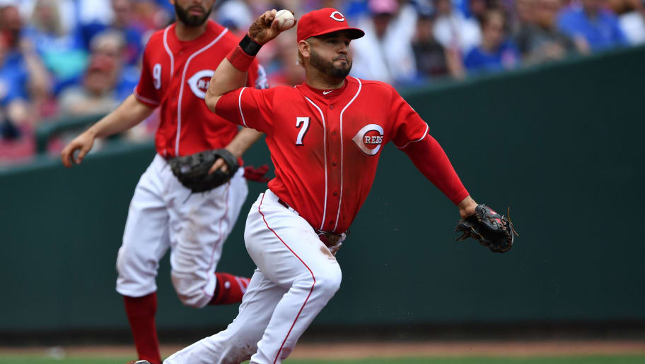 CINCINNATI, OH - MAY 19:  Eugenio Suarez #7 of the Cincinnati Reds throws to second base for a force out against the Chicago Cubs in the sixth inning at Great American Ball Park on May 19, 2018 in Cincinnati, Ohio.  (Photo by Jamie Sabau/Getty Images)