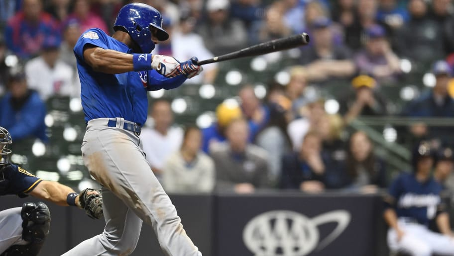MILWAUKEE, WI - JUNE 11:  Jason Heyward #22 of the Chicago Cubs swings at a pitch during the 11trh inning of a game against the Milwaukee Brewers at Miller Park on June 11, 2018 in Milwaukee, Wisconsin.  The Cubs defeated the Brewers 7-2 in 11 innings.  (Photo by Stacy Revere/Getty Images)