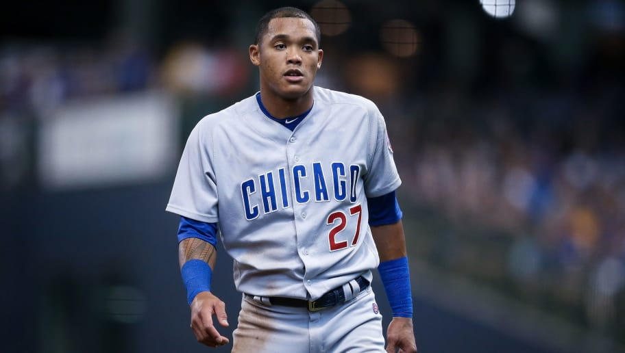 MILWAUKEE, WI - SEPTEMBER 03:  Addison Russell #27 of the Chicago Cubs stands on the field in the fourth inning against the Milwaukee Brewers at Miller Park on September 3, 2018 in Milwaukee, Wisconsin. (Photo by Dylan Buell/Getty Images)