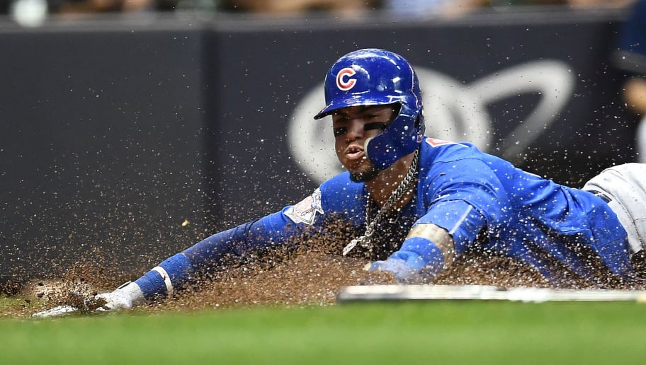 MILWAUKEE, WI - SEPTEMBER 05:  Javier Baez #9 of the Chicago Cubs scores a run during the fourth inning against the Milwaukee Brewers at Miller Park on September 5, 2018 in Milwaukee, Wisconsin.  (Photo by Stacy Revere/Getty Images)