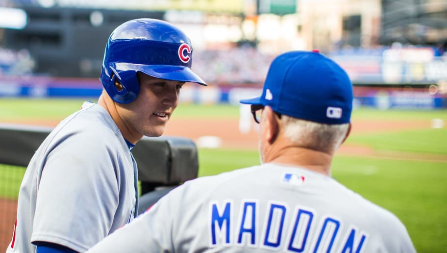 NEW YORK, NY - JUNE 01:  Anthony Rizzo #44 of the Chicago Cubs talks with manager Joe Maddon #70 during the game against the New York Mets at Citi Field on Friday June 1, 2018 in the Queens borough of New York City. (Photo by Rob Tringali/SportsChrome/Getty Images)