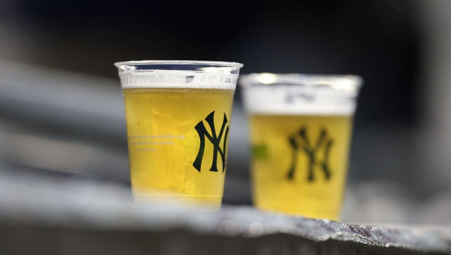 NEW YORK - APRIL 03:  Two beers rest on a ledge during the New York Yankees game against the Chicago Cubs at Yankee Stadium on April 3, 2009 in the Bronx borough of New York City.  (Photo by Ezra Shaw/Getty Images)