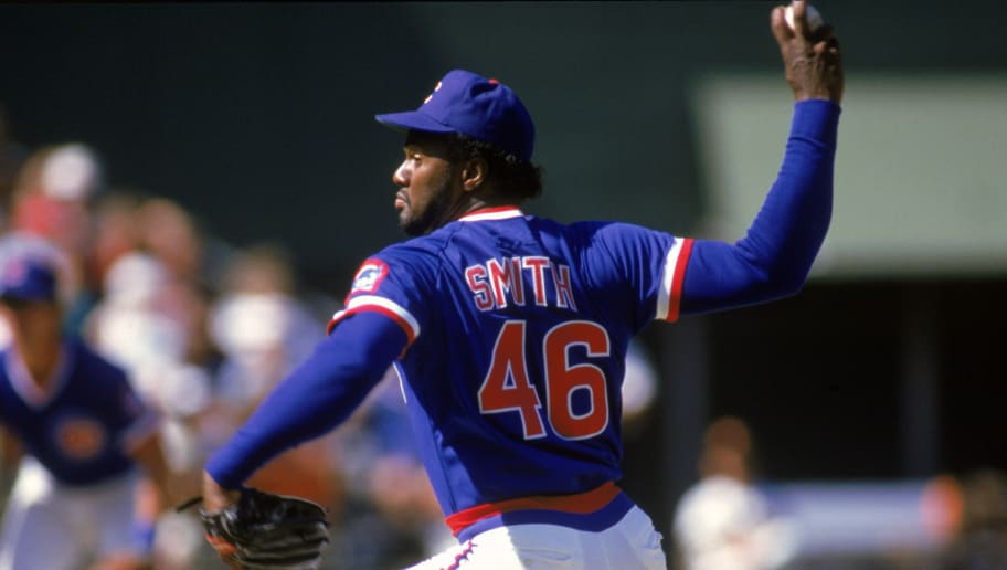 SAN DIEGO:  Lee Smith #46 of the Chicago Cubs pitches during the game against the San Diego Padres at Jack Murphy Stadium in a 1986 season game in San Diego, California. ( Photo by: Stephen Dunn/Getty Images)