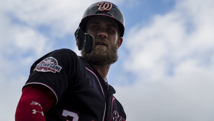 WASHINGTON, DC - SEPTEMBER 13: Bryce Harper #34 of the Washington Nationals looks on against the Chicago Cubs during the third inning at Nationals Park on September 13, 2018 in Washington, DC.  (Photo by Scott Taetsch/Getty Images)
