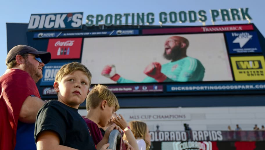 COMMERCE CITY, CO - JUNE 13: A fan looks towards the field before the Colorado Rapids play against the Chicago Fire at Dick's Sporting Goods Park on June 13, 2018 in Commerce City, Colorado. (Photo by Timothy Nwachukwu/Getty Images)