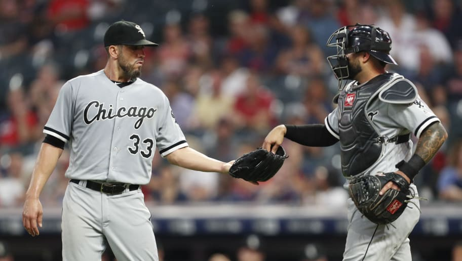 CLEVELAND, OH - SEPTEMBER 20:  James Shields #33 of the Chicago White Sox talks with catcher Omar Narvaez #38during the first inning against the Cleveland Indians at Progressive Field on September 20, 2018 in Cleveland, Ohio. The White Sox defeated the Indians 5-4 in 11 innings.  (Photo by David Maxwell/Getty Images)