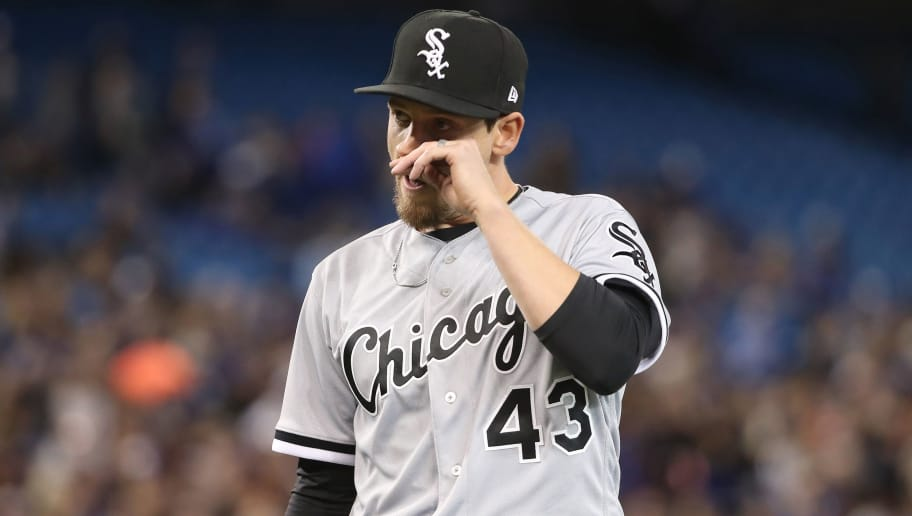 TORONTO, ON - APRIL 4: Danny Farquhar #43 of the Chicago White Sox walks off the mound after getting the final out of the sixth inning during MLB game action against the Toronto Blue Jays at Rogers Centre on April 4, 2018 in Toronto, Canada. (Photo by Tom Szczerbowski/Getty Images) *** Local Caption *** Danny Farquhar