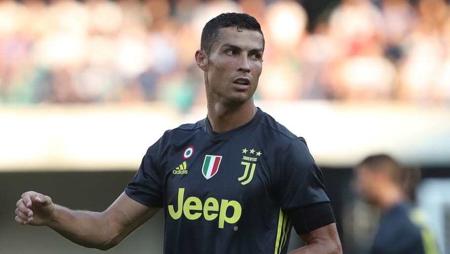 VERONA, ITALY - AUGUST 18:  Cristiano Ronaldo of Juventus FC looks on during the Serie A match between Chievo Verona and Juventus at Stadio Marc'Antonio Bentegodi on August 18, 2018 in Verona, Italy.  (Photo by Marco Luzzani/Getty Images)