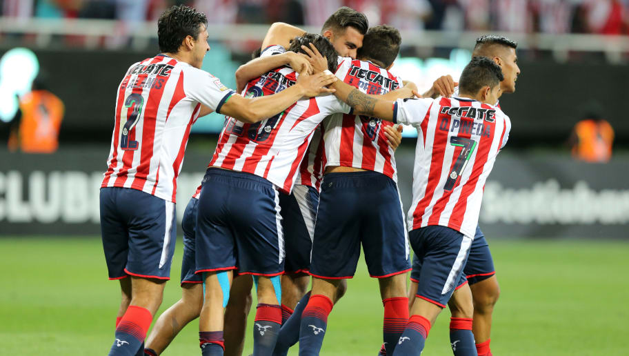 ZAPOPAN, MEXICO - APRIL 25: Players od Chivas of celebrate after winning the second leg match of the final between Chivas and Toronto FC as part of CONCACAF Champions League 2018 at Akron Stadium on April 25, 2018 in Zapopan, Mexico. (Photo by Refugio Ruiz/Getty Images)