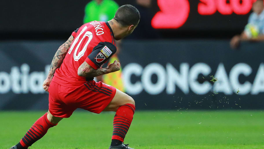 ZAPOPAN, MEXICO - APRIL 25: Sebastian Giovinco of Toronto FC celebrates after scoring the second goal of his team during the second leg match of the final between Chivas and Toronto FC as part of CONCACAF Champions League 2018 at Akron Stadium on April 25, 2018 in Zapopan, Mexico. (Photo by Hector Vivas/Getty Images)