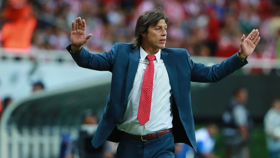ZAPOPAN, MEXICO - APRIL 25: Matias Almeyda, Head Coach of Chivas gestures during the second leg match of the final between Chivas and Toronto FC as part of CONCACAF Champions League 2018 at Akron Stadium on April 25, 2018 in Zapopan, Mexico. (Photo by Hector Vivas/Getty Images)