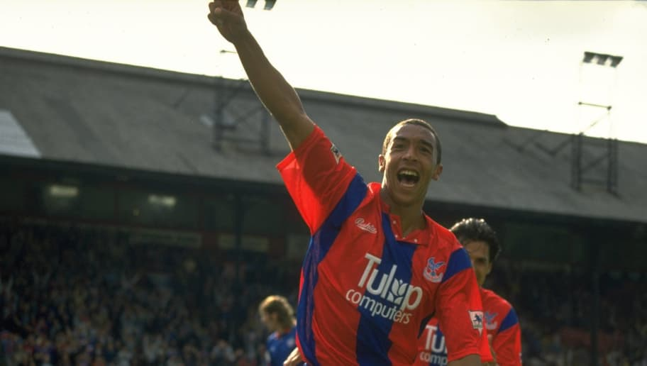 12 Sep 1992:  Chris Armstrong of Crystal Palace celebrates the second goal during an FA Carling Premier League match against Oldham at Selhurst Park in London.The match ended in a 2-2 draw. \ Mandatory Credit: Allsport UK /Allsport