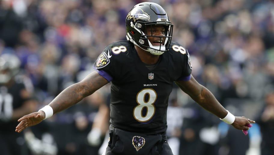 BALTIMORE, MD - NOVEMBER 18: Quarterback Lamar Jackson #8 of the Baltimore Ravens reacts after a touchdown the first quarter against the Cincinnati Bengals at M&T Bank Stadium on November 18, 2018 in Baltimore, Maryland. (Photo by Todd Olszewski/Getty Images)